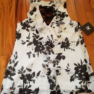 Black and white floral top